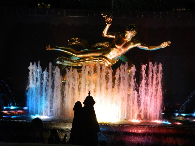 Night Motion Illuminated Real People Celebration Rockefeller Center Rockefeller Center, New York Long Exposure Arts Culture And Entertainment Men Lifestyles Full Length Fun Outdoors Women Performance Standing Water One Person Sky People