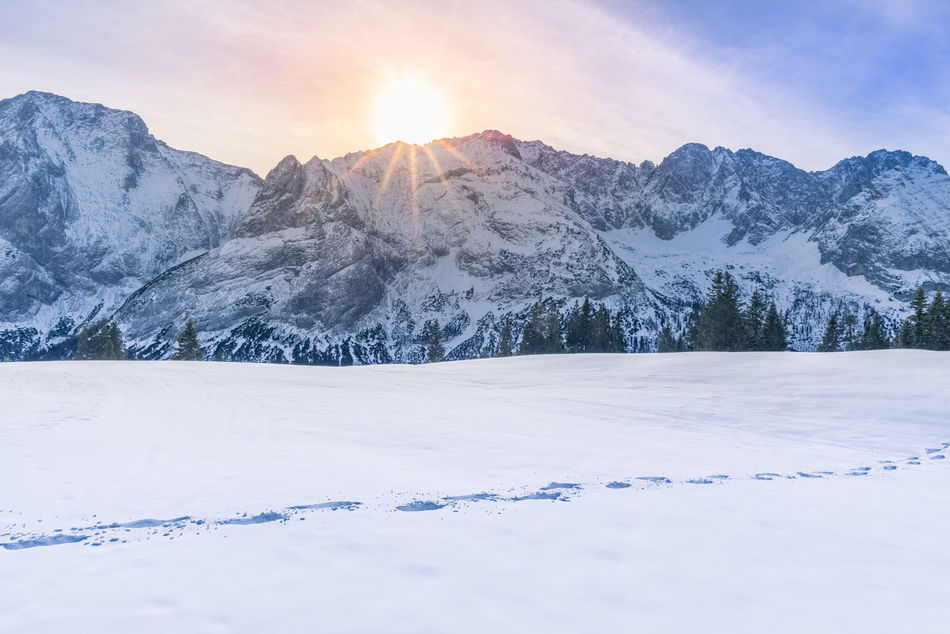 Beautiful stock photos of sunrise, Absence, Austria, Ehrwald, beauty In Nature