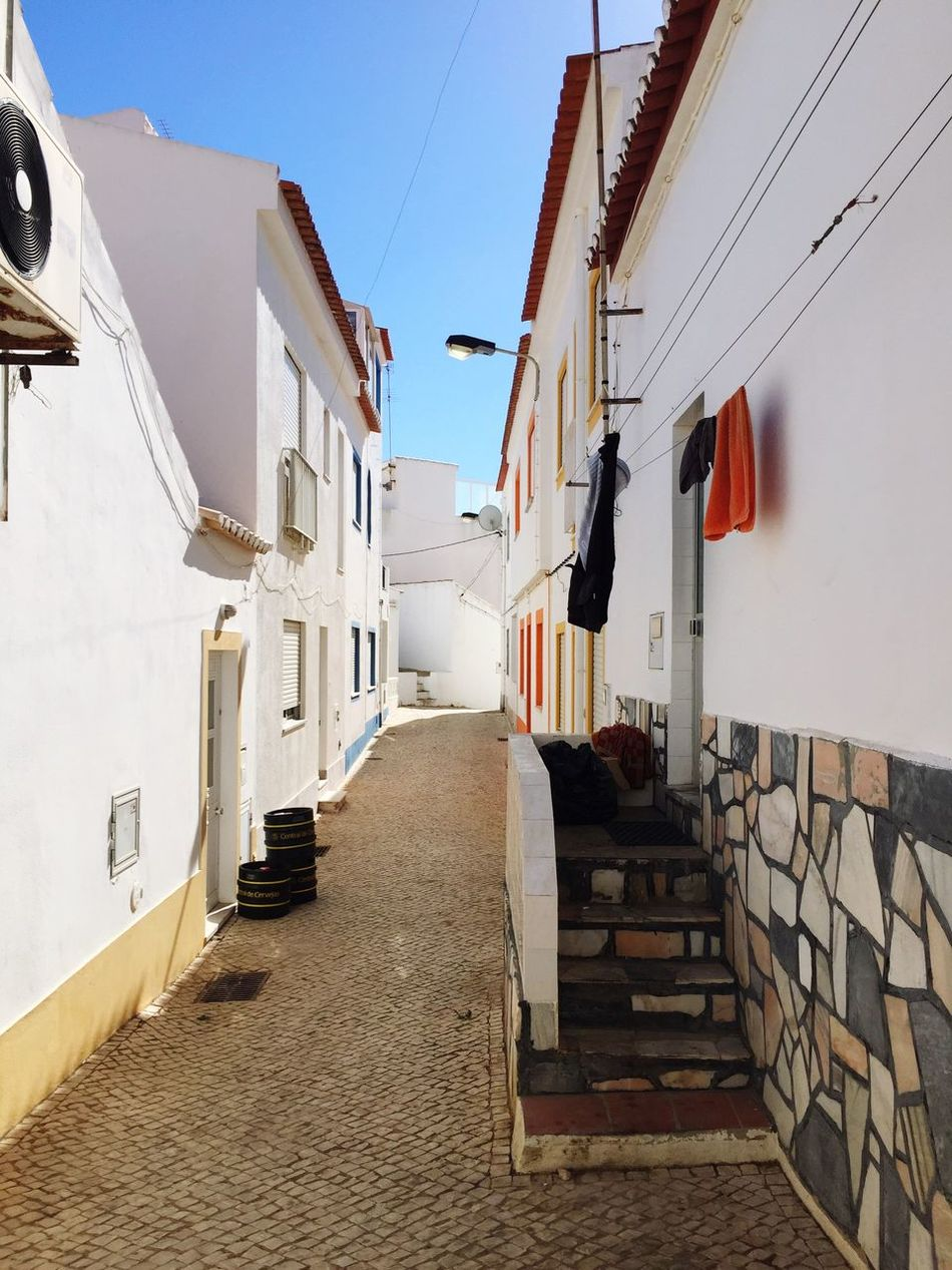 Architecture The Way Forward Built Structure Building Exterior Clear Sky Blue Footpath No People Portugal Algarve White Walls Minimalism Beach Life Vacations Travel Photography Still Life Exotic
