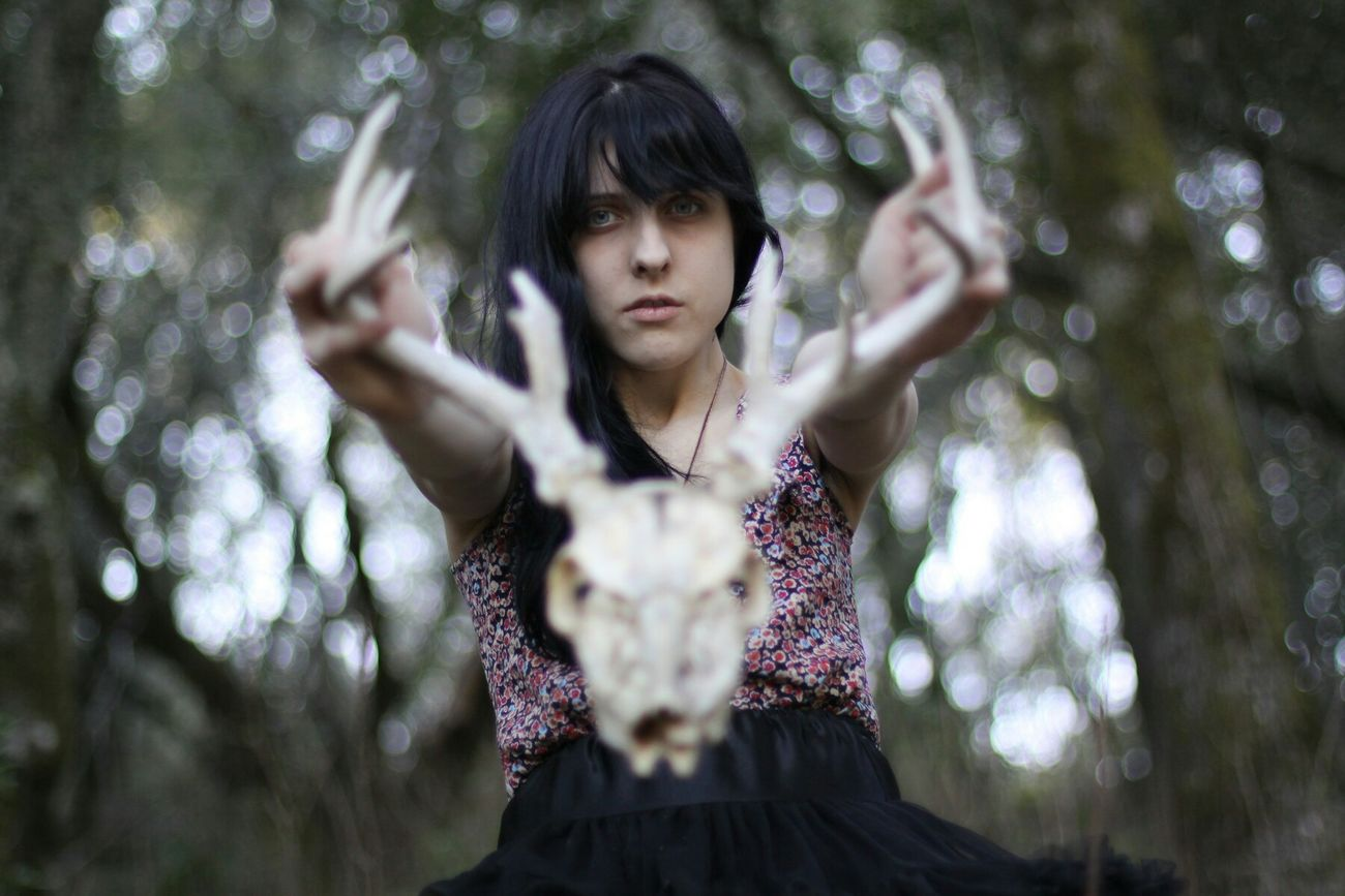 Portrait Of A Woman Portrait Portrait With Atmosphere Nature Deer Skull