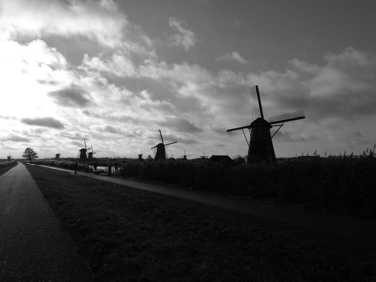 Kinderdijk Worldheritage Windmill Outdoors Monochrome