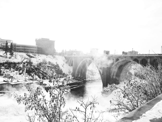 Spokane Washington Monroe Street Bridge Black And White Black & White Black And White Photography Black And White Collection  Downtown Washington State Spokane Wa Spokane River Bridge Washington