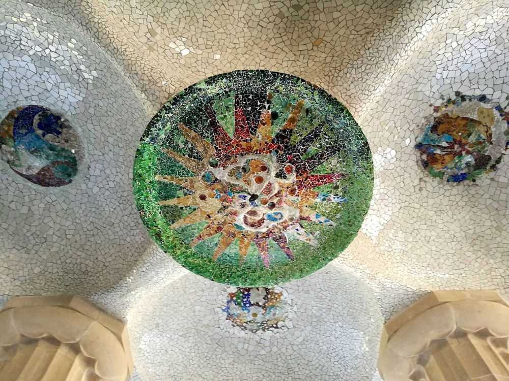 Multi Colored Textured  Circular Architecture Sculpture City Built Structure Building Exterior Travel Destinations Barcelona HuaweiP9 Guell Monumental Zone Guell Park Gaudi Park Art Mosaic EyeEmNewHere The Secret Spaces Art Is Everywhere Cut And Paste The Architect - 2017 EyeEm Awards