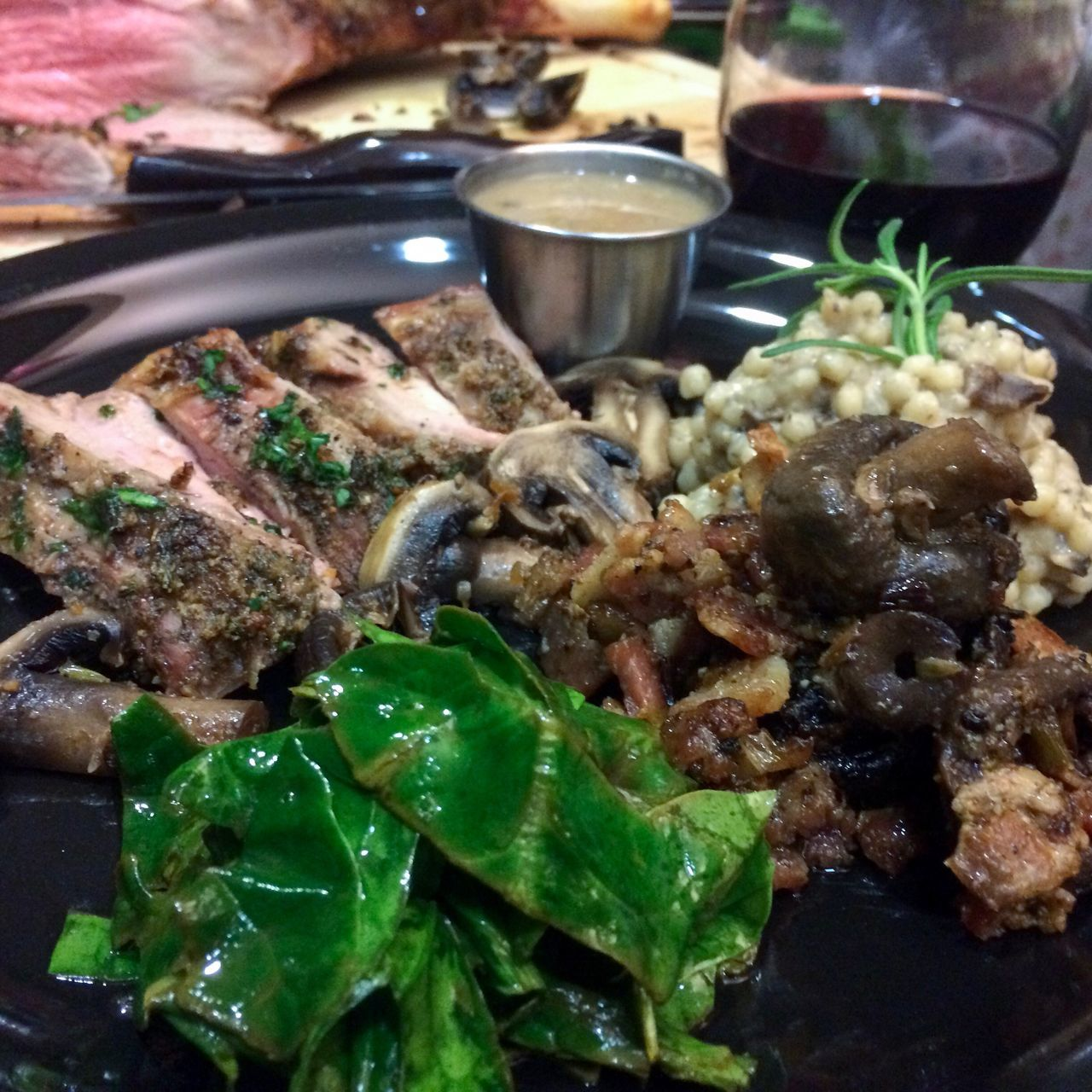 Traveling Home For The Holidays Food And Drink Freshness Food Ready-to-eat Indoors  No People Close-up Healthy Eating Roastedlamb Cabernetsauvignon Couscous Spinach Mushrooms Christmasdinner Holidays 12daysofeyeem Farmtotable Cuisine Foodphotography Family Dinner Traditions