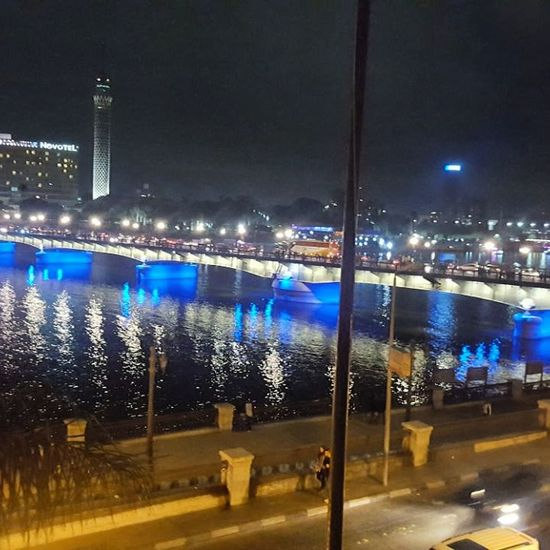 River At Night Cairo Egypt Bridge Over The Nile Night Illuminated Architecture City No People