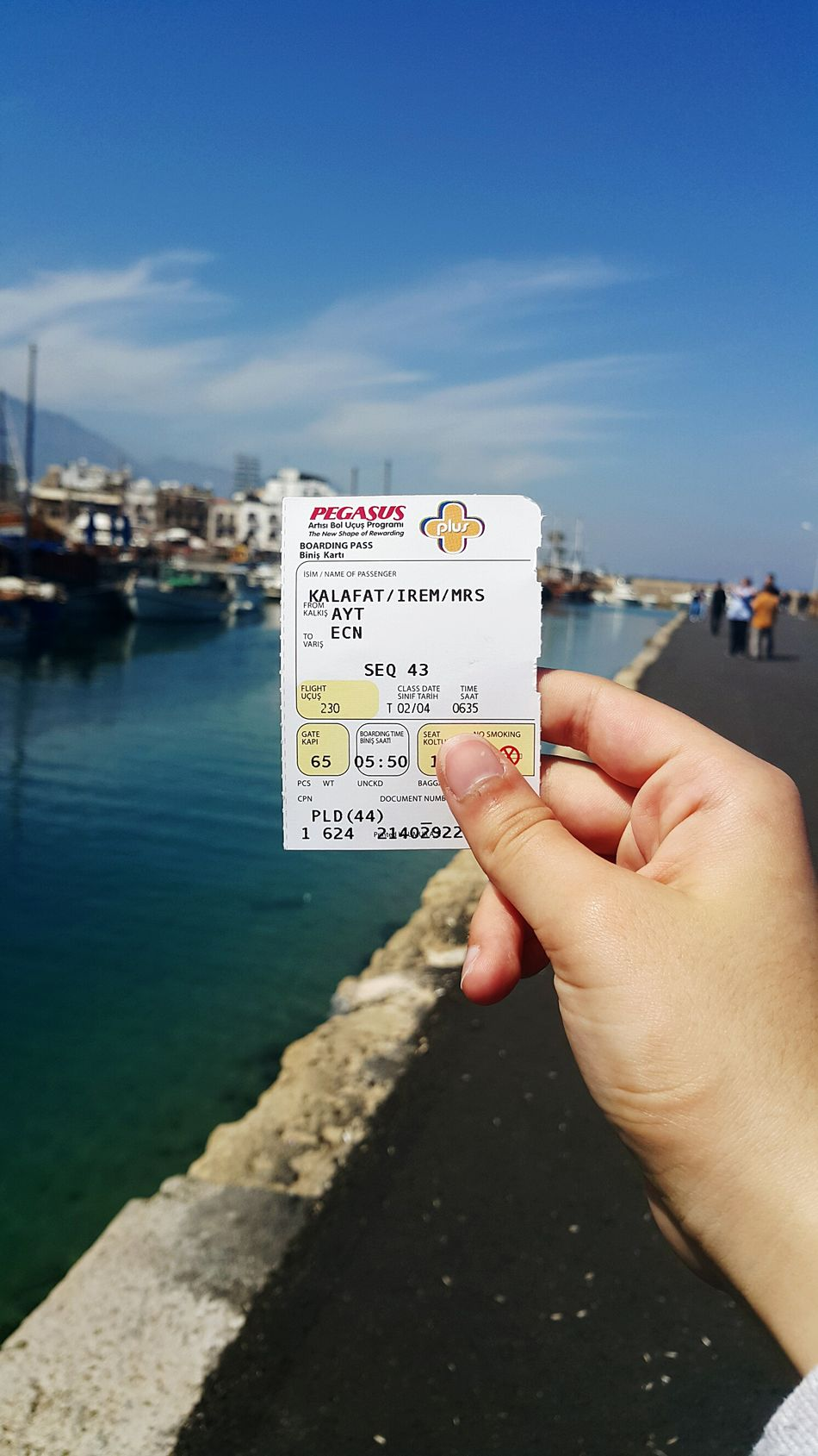 Cyprus/Girne × taken with Samsung Galaxy Note 4 Sea Human Hand Human Body Part Holding One Person Water Sky Outdoors Day People Close-up Adult Ticket Plane Ticket