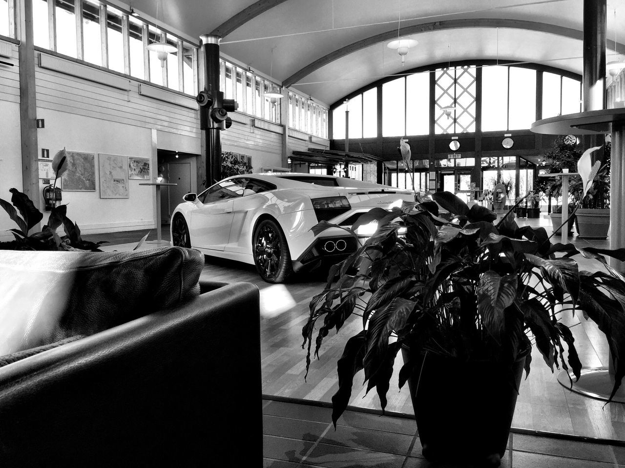 Indoors  Built Structure Architecture City No People Day Blackandwhite Living Room Lamborghini Lambo Car Supercar Black And White Black & White Blackandwhite Photography IPhoneography Photography McIntosh Indoor Photography Good Morning Hello World Mode Of Transport Race Flower Runway