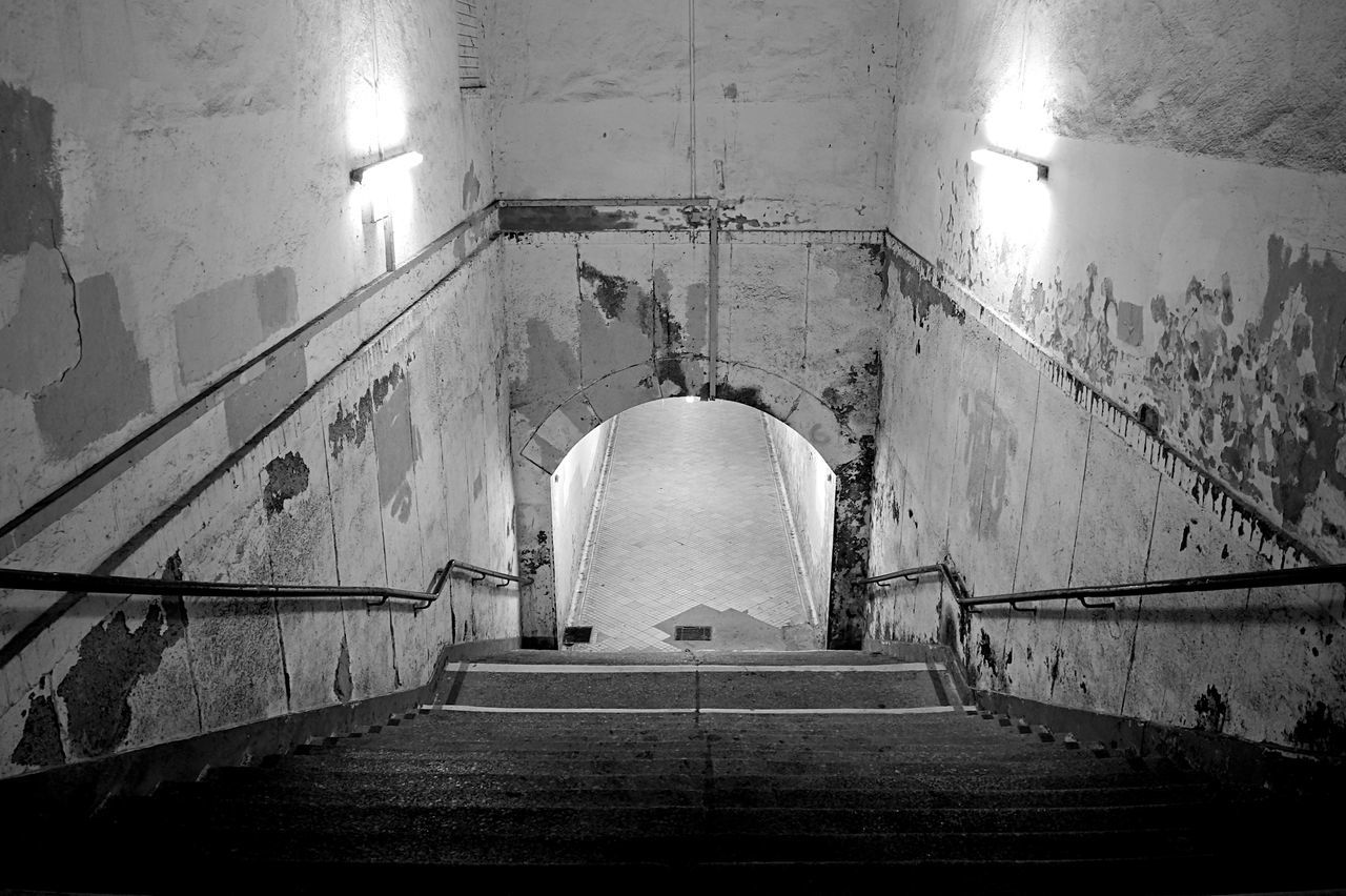 stairs tunnel and door Abandoned Abandoned Places Architecture Black & White Black And White Blackandwhite Door Doorway Mono Monochrome Stairs Standing Steps The Way Forward