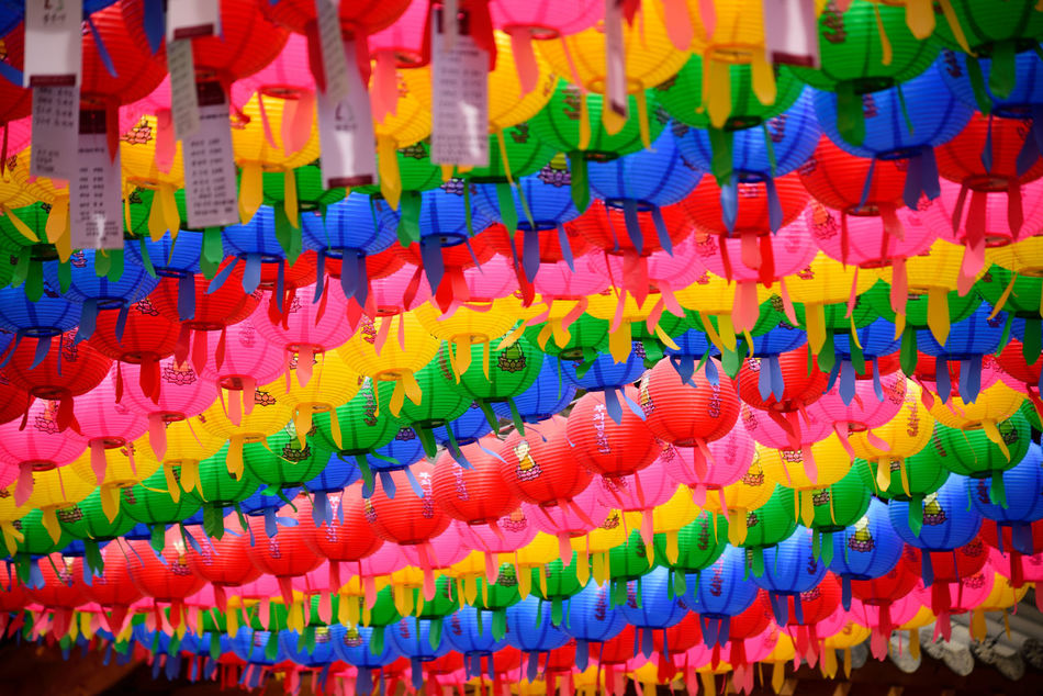 Abundance Buddha's Birthday Day In A Row Large Group Of Objects Lotus Lantern Festival Multi Colored No People Seoul, Korea Variation Wishes