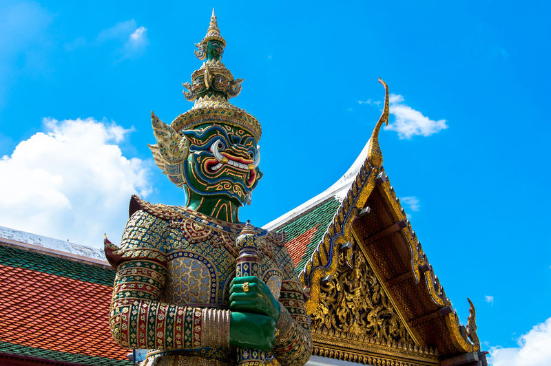 Blue Cloud Cloud - Sky Day Design Grand Palace Bangkok Thailand High Section Low Angle View No People Ornate Outdoors Place Of Worship Religion Sky Spirituality Temple - Building Thai Warrior Thailand Travel Destinations