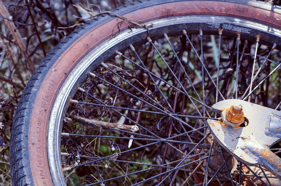 Wheel Land Vehicle No People Abandoned Agriculture Outdoors Nature Close-up Tire Day Spoke Rusted Rusted Metal  Bike Wheel Bicycle Bicycle Wheel Junk Overgrown Macro Macro Photography