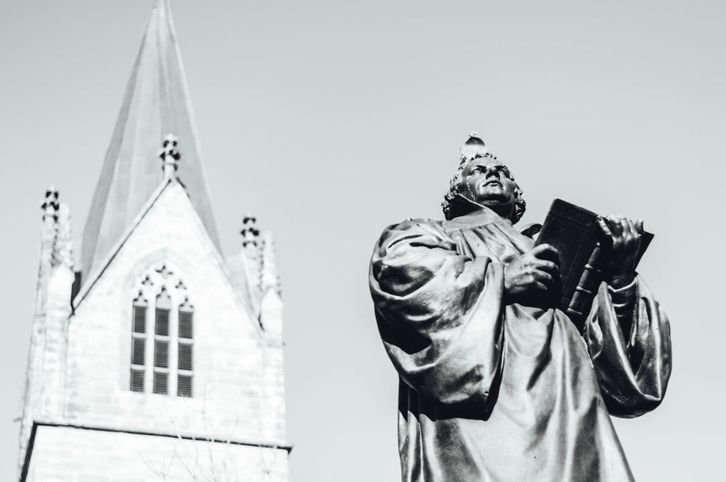 Sculpture of the Reformator Martin Luther in Erfurt 500 Years Of Reformation Anniversary Art Christ Christian Culture Day Faith God Low Angle View Luther Lutheran Church Male Martin Luther One Person Outdoors People Portrait Protestantism Reformation Reformation Day Reformation Day Celebrations Religion Sculpture Statue