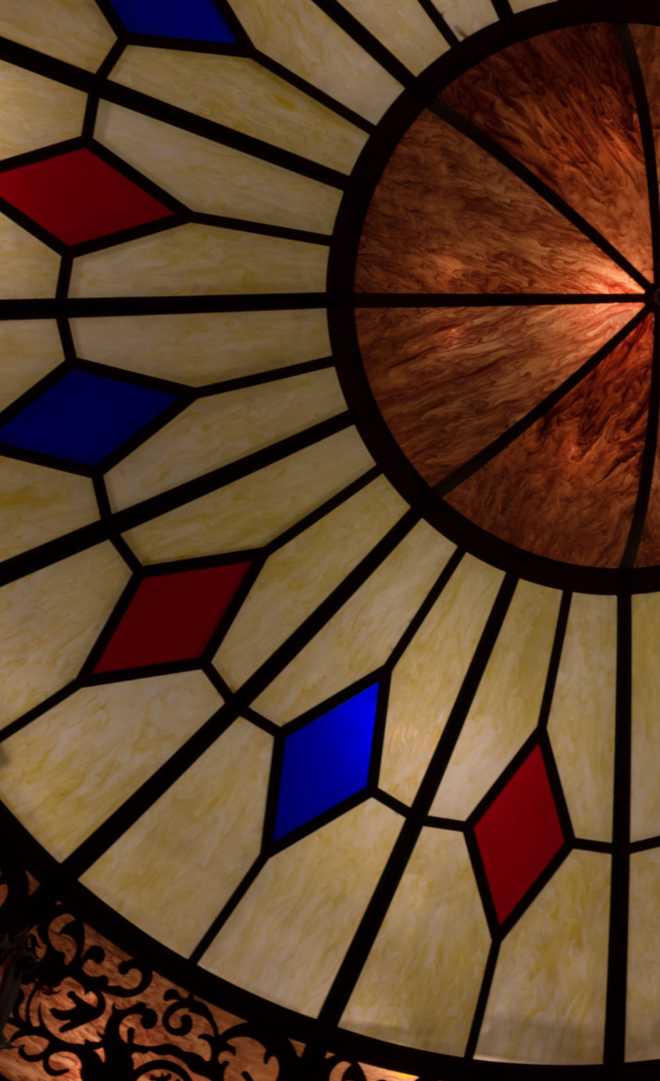 Architecture Circle Circular Close-up Colorful Glass Indoors  Light Light Fixture Lookingup Low Angle View No People Pattern Round