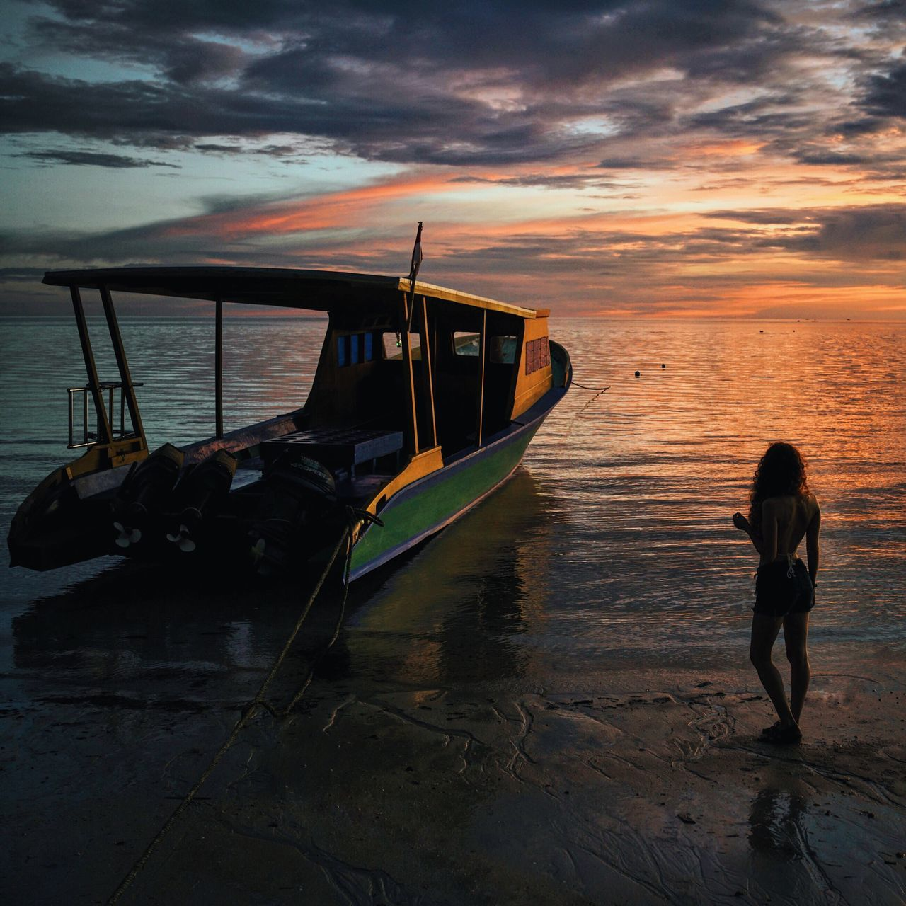 Boat Girl Beach Sea Sunset Colors Orange Color INDONESIA Sulawesi Bunaken Island Adventure Showcase July My Year My View