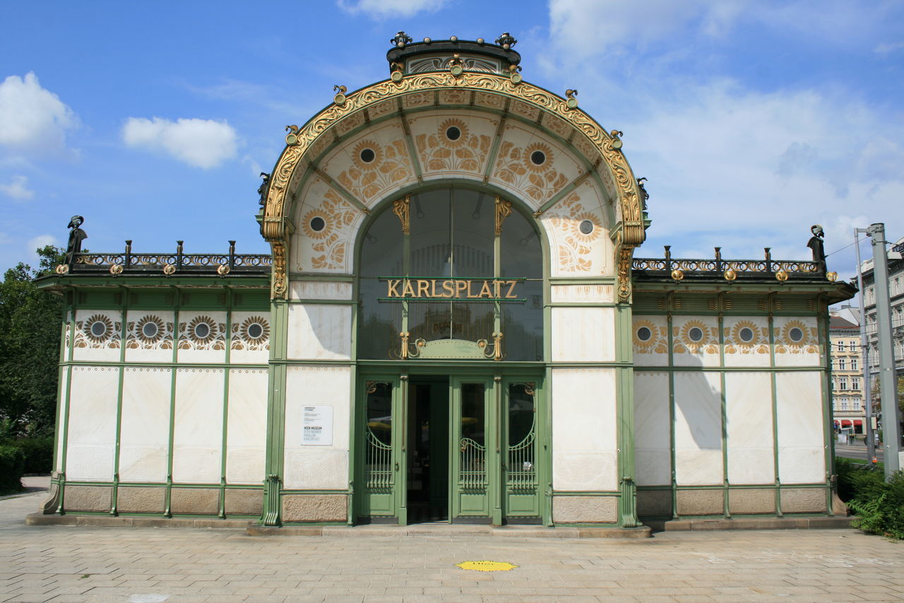 Architecture Art Art Nouveau Architecture Art Nouveau Buildings Baroque Style Built Structure City Day History Karlsplatz No People Otto Wagner Outdoors Sky Subway Station Underground Station  Adapted To The City