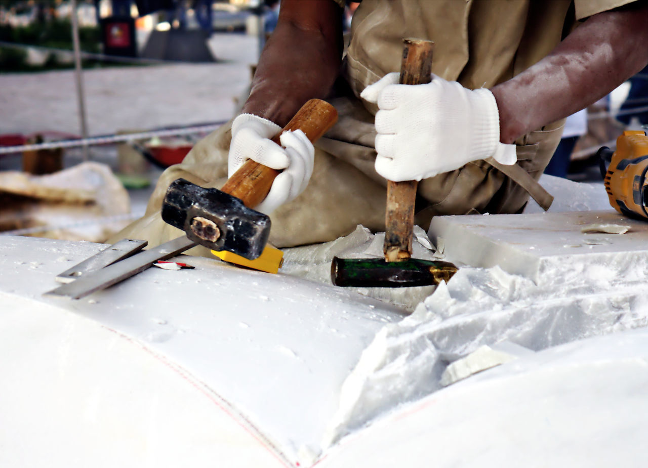 Artist Artist At Work Carving - Craft Activity Cutter Dust Fine Art Photography Gloves Hammer Hammer And Chisel Hand Tool Holding Human Hand Marble Marble Sculpting Marble Sculpture Marble Statue Marble Stone Safety Glasses Safety Gloves Still Life Work Tool Working With Marble Workshop
