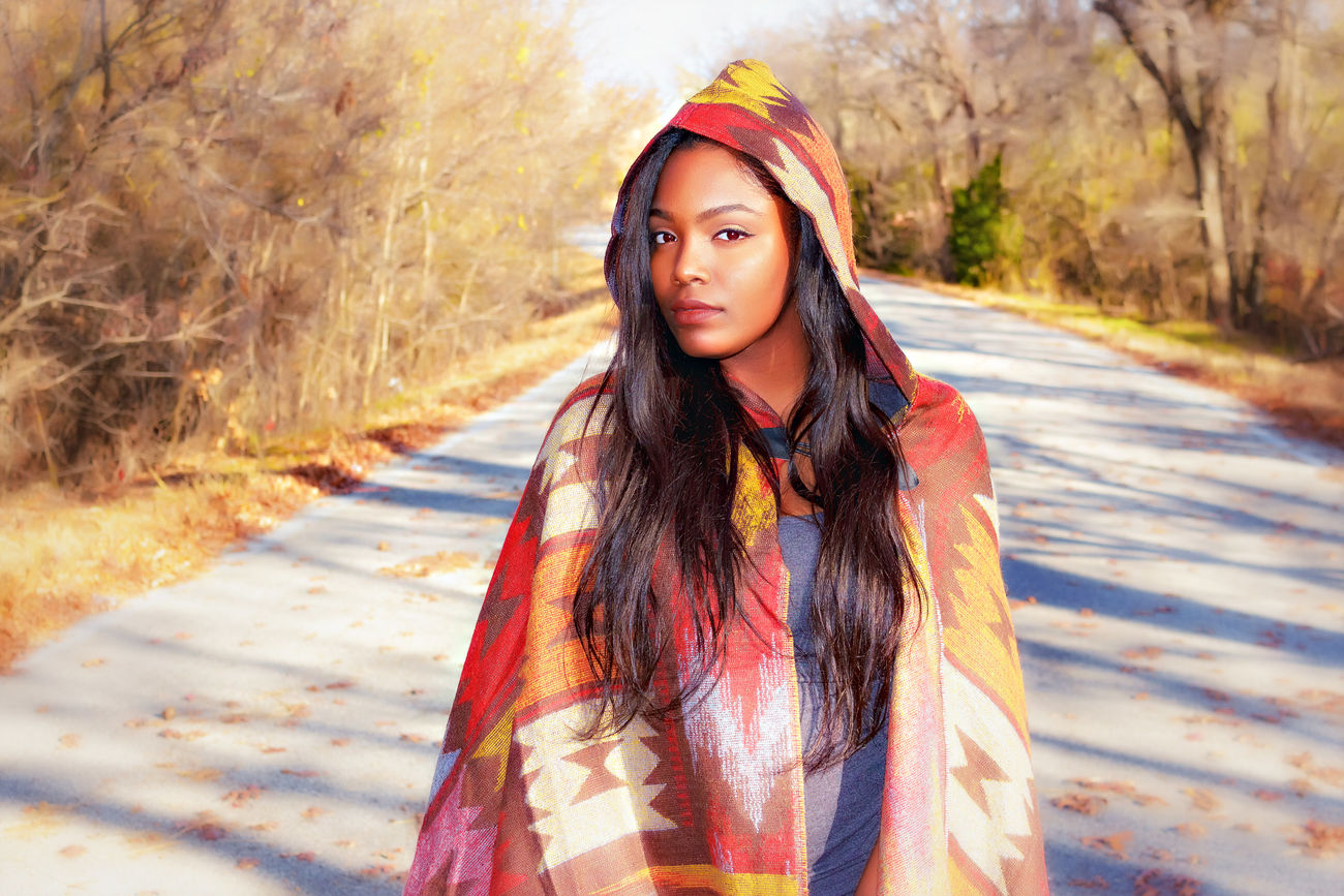 Merced, Winter 2015 Autumn Beautiful Woman Black Woman Canon_photos Day Long Hair Looking At Camera Nature One Person Outdoors Poncho Portrait Road Young Adult First Eyeem Photo