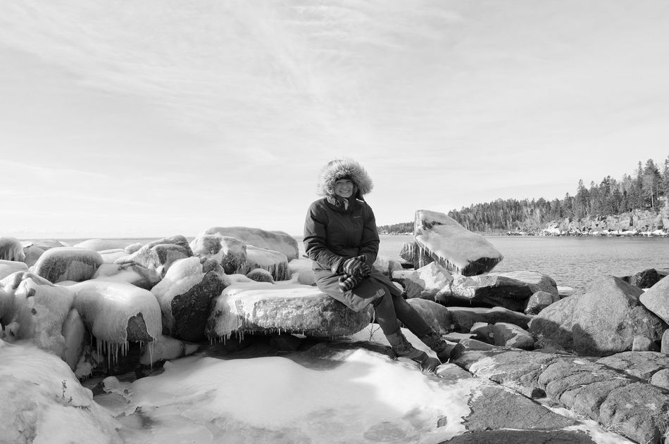Black & White Blackandwhite Day Ice Lake Superior Nature North Shore Minnesota One Person Outdoors Rocks And Water Warm Clothing Winter