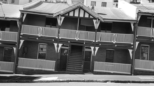 Black And White Moody Crooked Old House Old Buildings Broken Slanted Millers Point Sydney