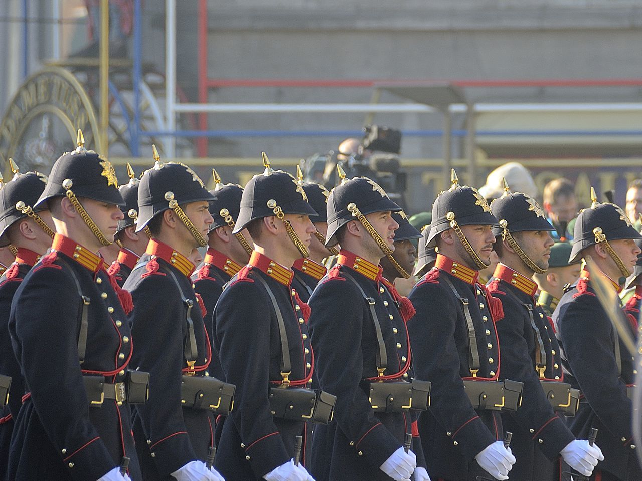 large group of people, uniform, real people, military parade, military uniform, men, marching band, red, marching, occupation, day, parade, togetherness, army soldier, celebration, student, outdoors, people