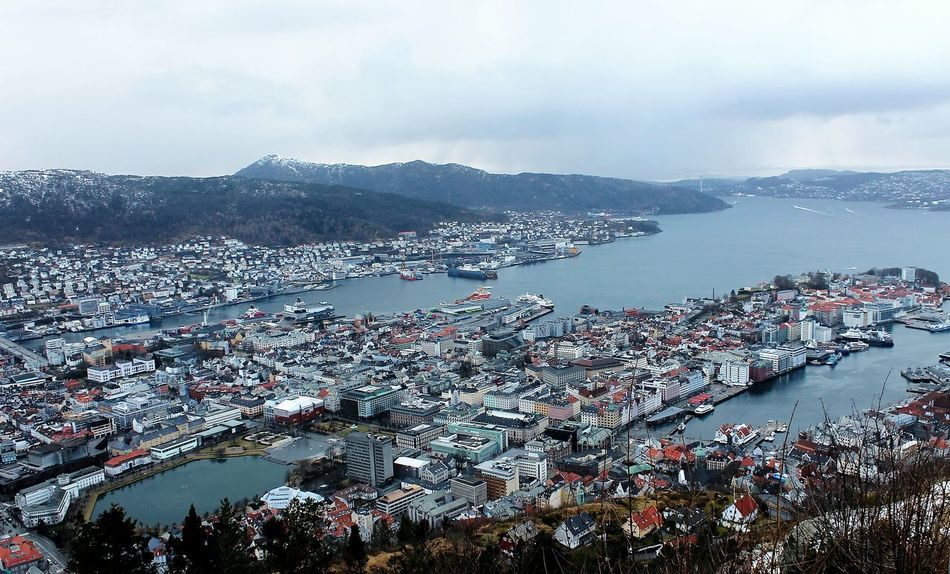 Bergen Panoramic View Panoramic City View  Cityscape Day Mountain Eyem Gallery Travel Norway Visitnorway Travel Destinations NorwayTourism Views No People Vacations Sky Cloud - Sky Flying High