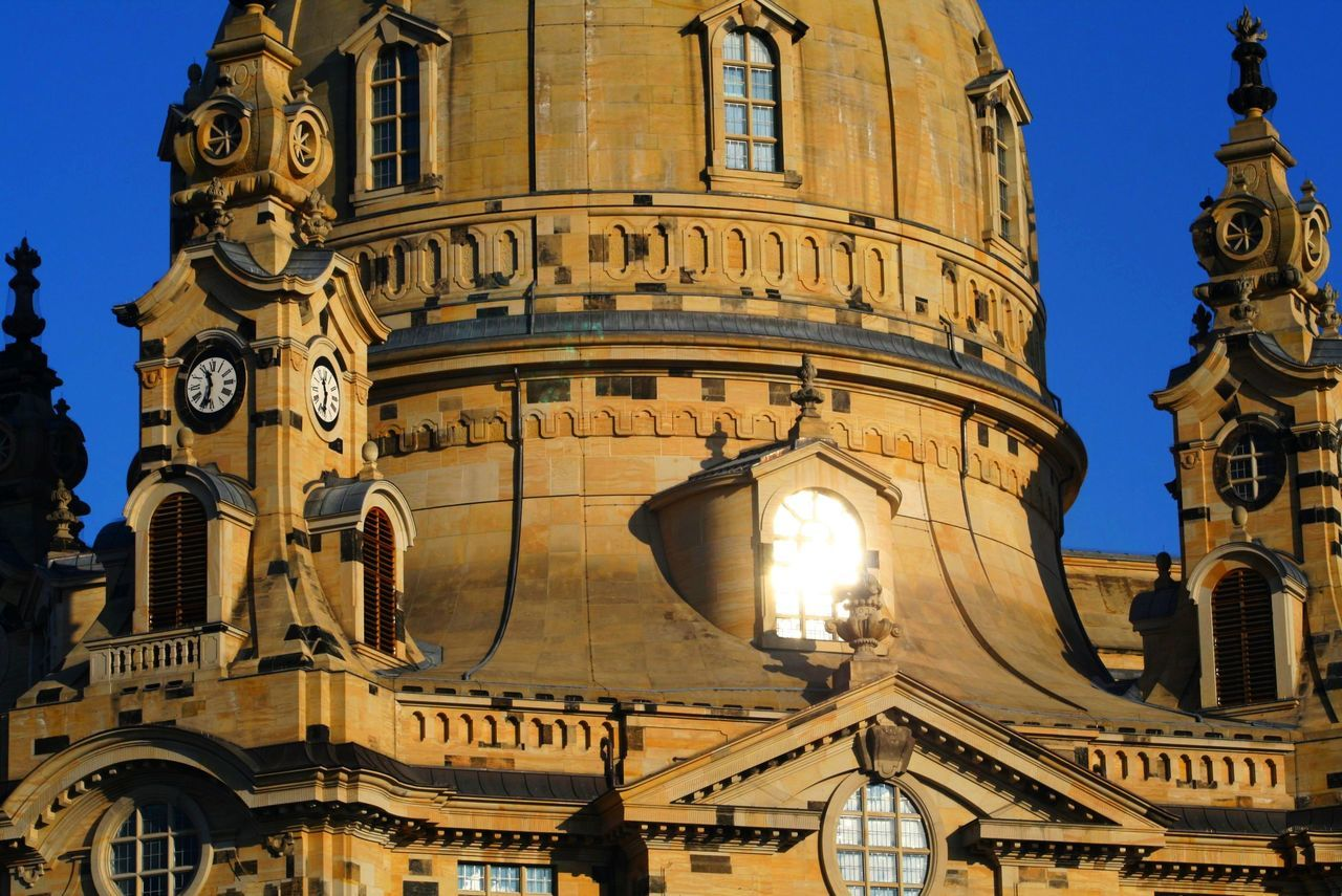 Architecture Building Exterior Built Structure Church City Day Dresden Frauenkirche No People Old And New Old And New Elements Old And New Stones Old Architecture Outdoors Sachsen Sandstone Sky Square And Round Sunlight The Architect - 2017 EyeEm Awards Turret Windiws