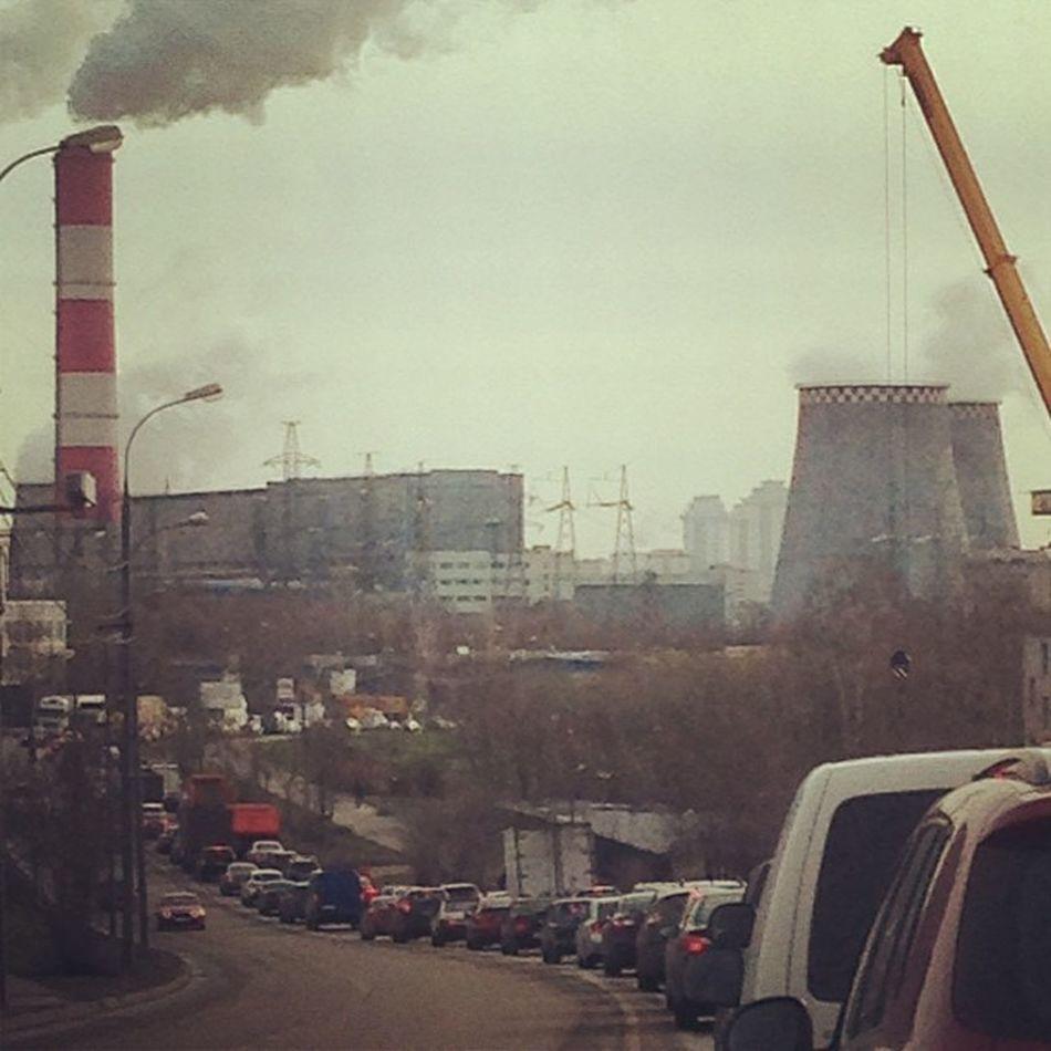 пробки пробки пробки))) всем Доброе утро Good Morning Moscow Traffic Road Ochakovo , Factories Go Work Antkuz всем бобра ))