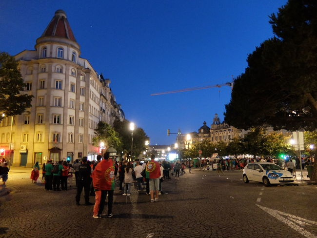 Euro 2016 Flags Green & Red Porto Portugal Watching Tv People Together