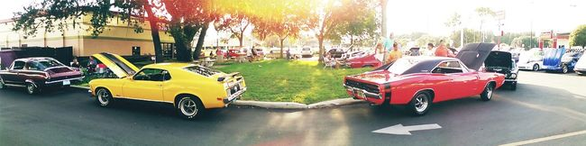 Panoramic Photography Cars Car Show Muscle Cars American Classics Ford Mustang GT Dodge Challenger