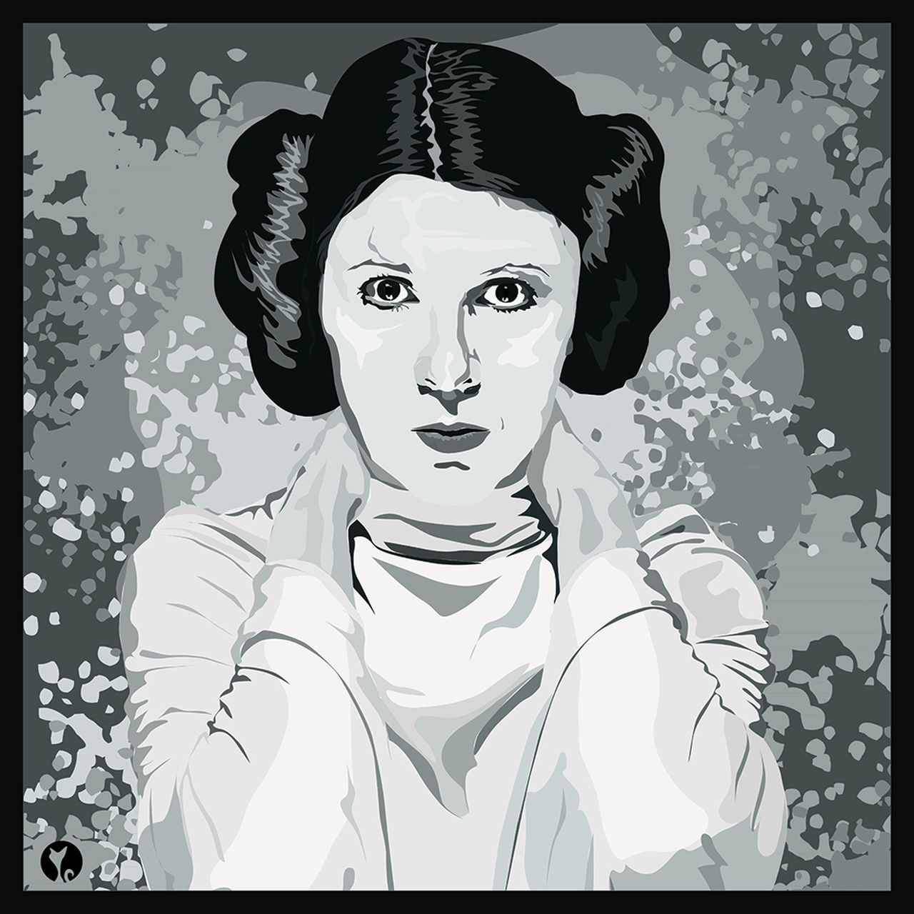 Looking At Camera Portrait Women One Person Illustration, Carrie Fisher Leiaorgana Leia Star Wars Starwars Star Wars Inspired may the force be with you