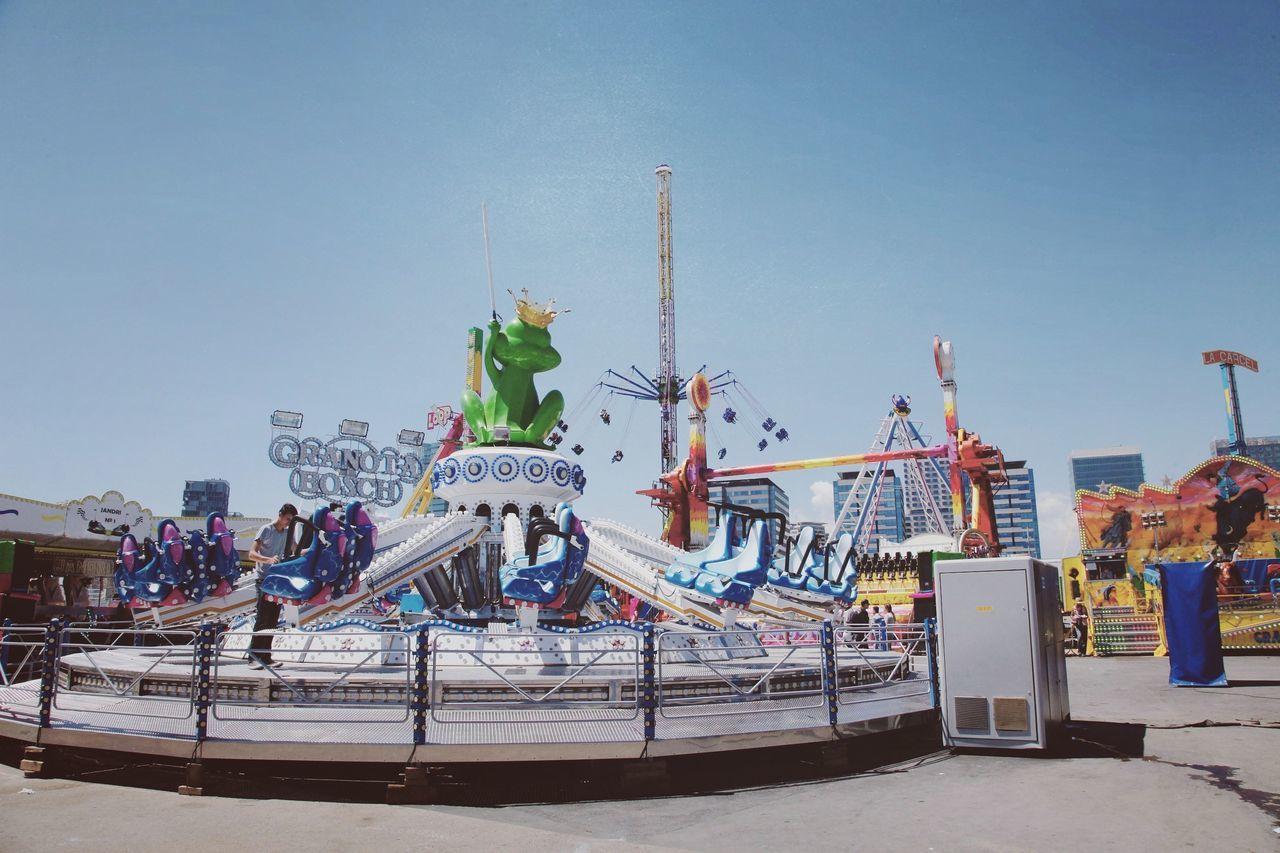 Fairground Fair Fairchild Fun Colours Sky Barcelona, Spain