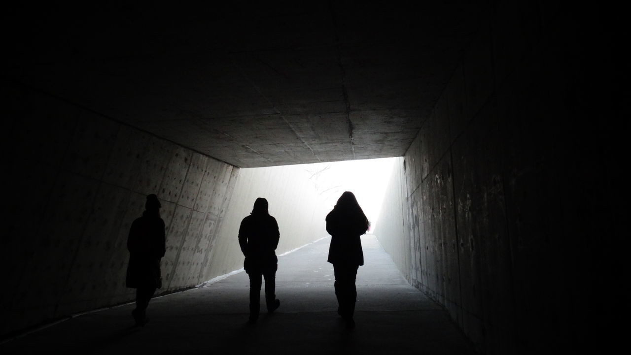 silhouette, walking, indoors, tunnel, real people, togetherness, full length, lifestyles, day, adult, people