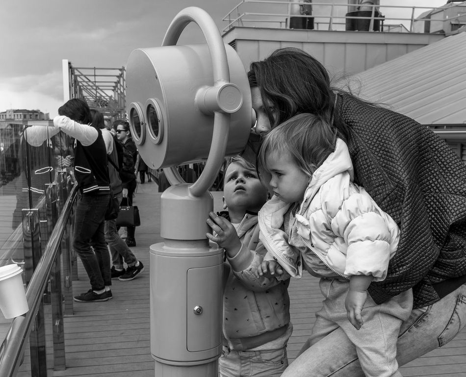 Russia, Moscow, Observatory on the roof of the store Children's world Casual Clothing Childhood Cute Day Leisure Activity Lifestyles Outdoors Russia, Moscow, Observatory On The Roof Of The Store Children's World