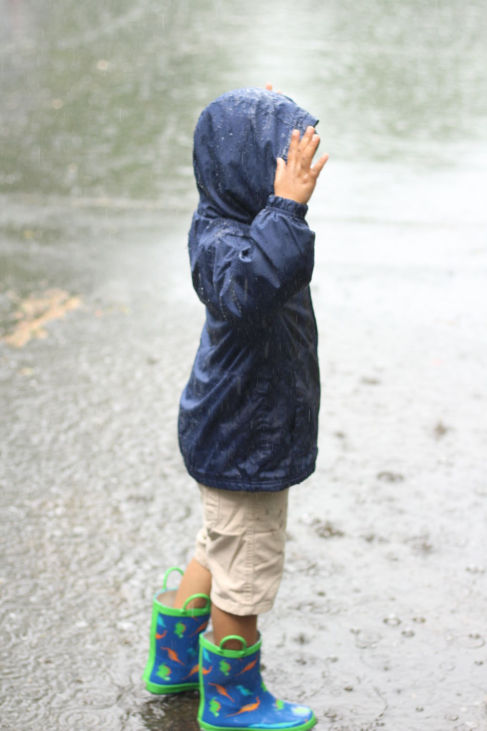 Boys Childhood Day Full Length Hooded Shirt Leisure Activity Lifestyles One Person Outdoors People Real People Rear View Standing Warm Clothing