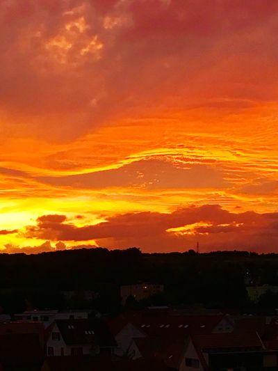 Sunset Orange Color House Light Clouds Evening
