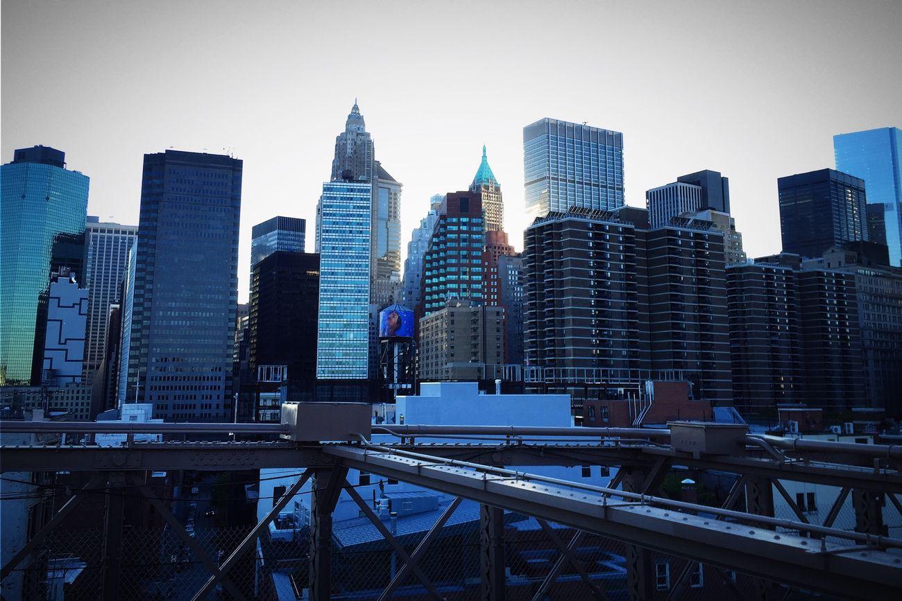 New York City Skyline from the Brooklyn Bridge  on a Beautiful day