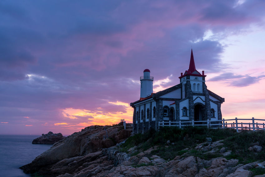 ASIA Beautiful Cool Korea Korea Photos Magic Hour Architecture Beauty In Nature Building Exterior Built Structure Cloud - Sky Day Long Exposure Nature Night View No People Outdoors Place Of Worship Religion Rock - Object Sea Sea And Sky Sky Spirituality Sunset EyeEm Ready   EyeEmNewHere