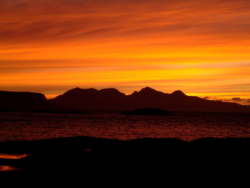 Isle Of Rhum Island Sunset Sea