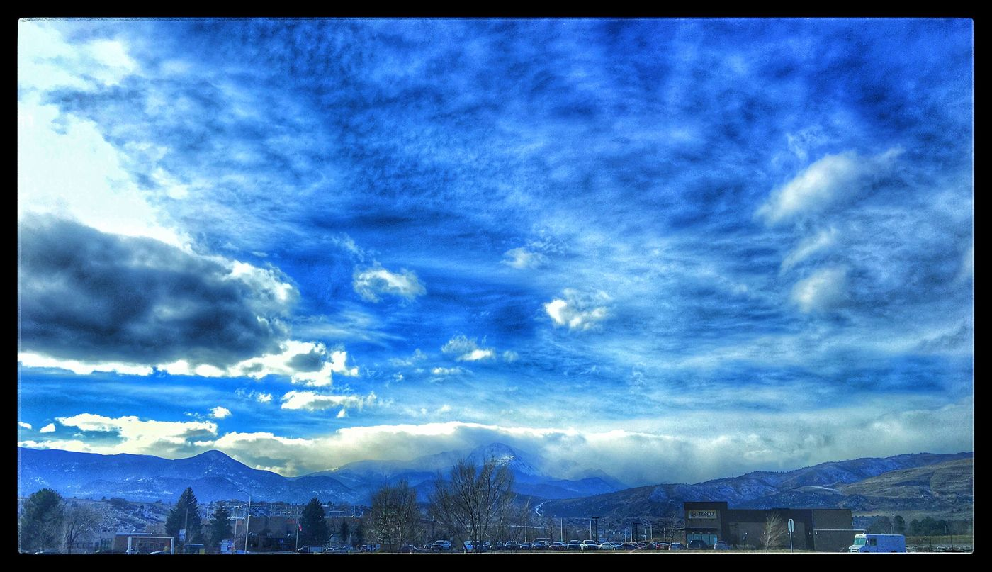 Today at lunch the sky was lovely. Full of clouds, cool air and fresh pleasure to feel and see. Pikes Peak was cloudy covered. Edited in Snapseed with no drama but some punch to the sky. Colorado Springs, CO Pikes Peak IPhoneography Apple Camera IPhone 6s Plus Cloudy Day Chilly Day Brrr Out Winter 2015 Mobile Photography EyeEm Mountain Shot Shot With A IPhone EyeEm Winter Shot