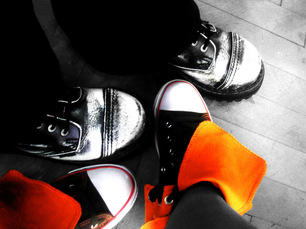 Black&White and Colorful shoes Day Dorko Fashion Gymshoes Human Leg Lifestyles Pair People Real People Shoe Two People