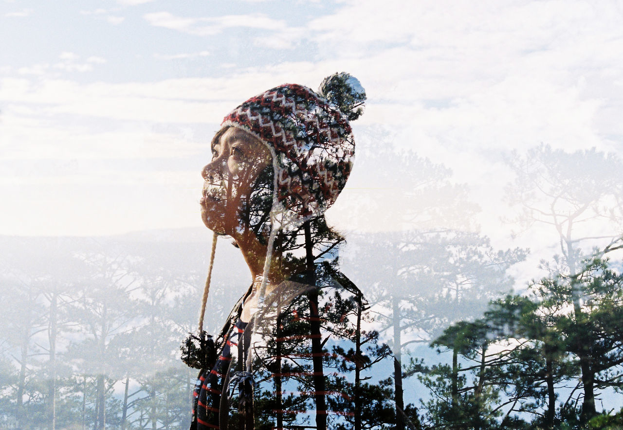 135 35mm Double Exposure Eyes Film Girl Pines Sky