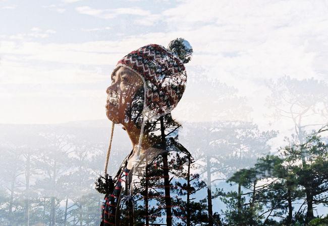 135 35mm Double Exposure Eyes Film Girl Pines Sky
