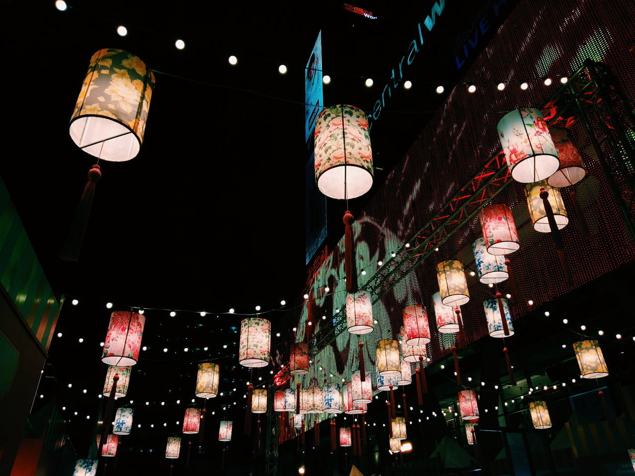 hanging, night, lighting equipment, illuminated, chinese lantern, low angle view, lantern, cultures, celebration, paper lantern, chinese lantern festival, traditional festival, no people, chinese new year, outdoors, architecture, city, sky