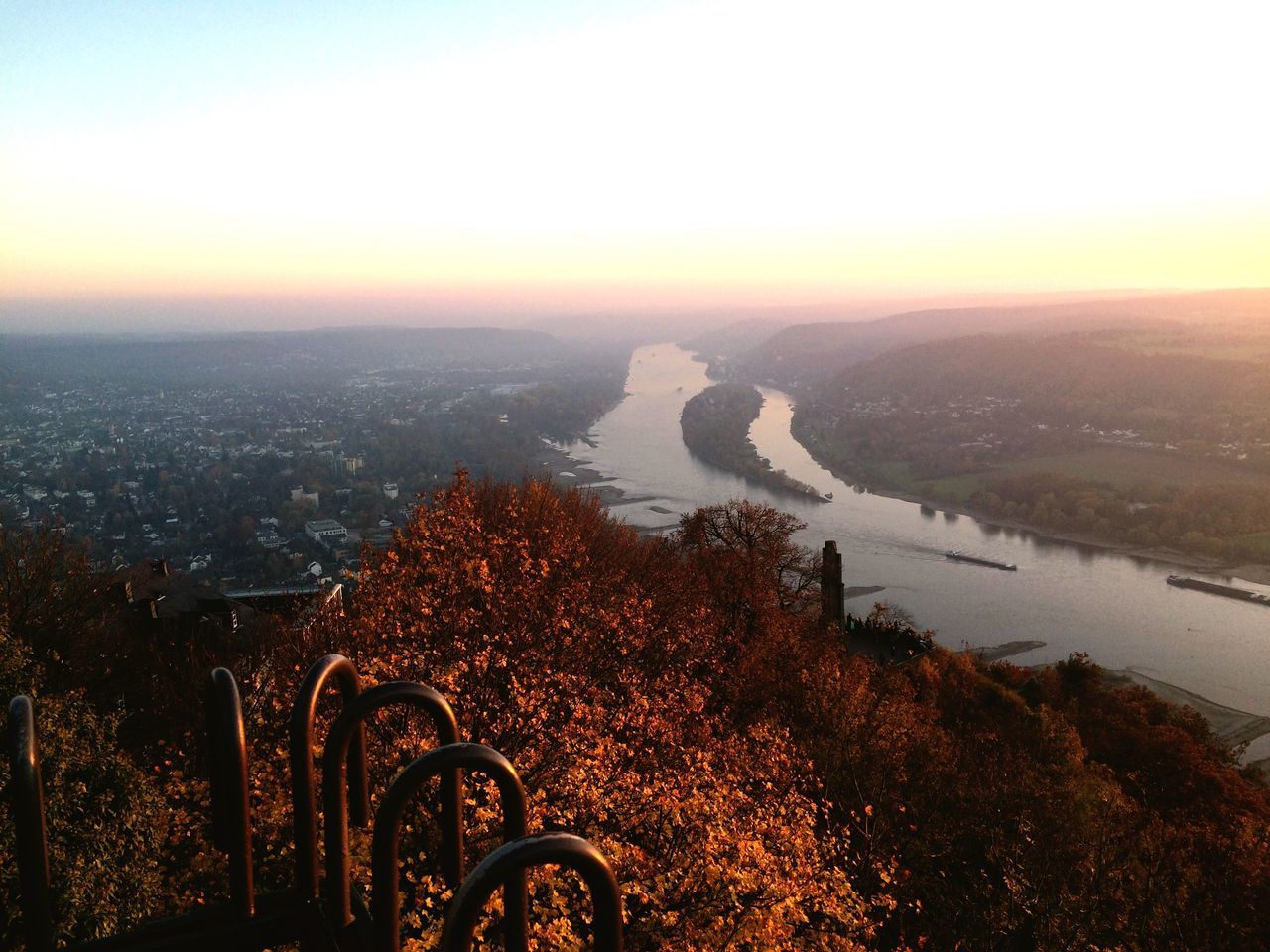 Königswinter Drachenfels Rhein Sunset Water Scenics City River Tranquil Scene Aerial View Cityscape Sun Travel Destinations Sea Tranquility Nature Beauty In Nature Outdoors Remote Sky Orange Color Blue Distant