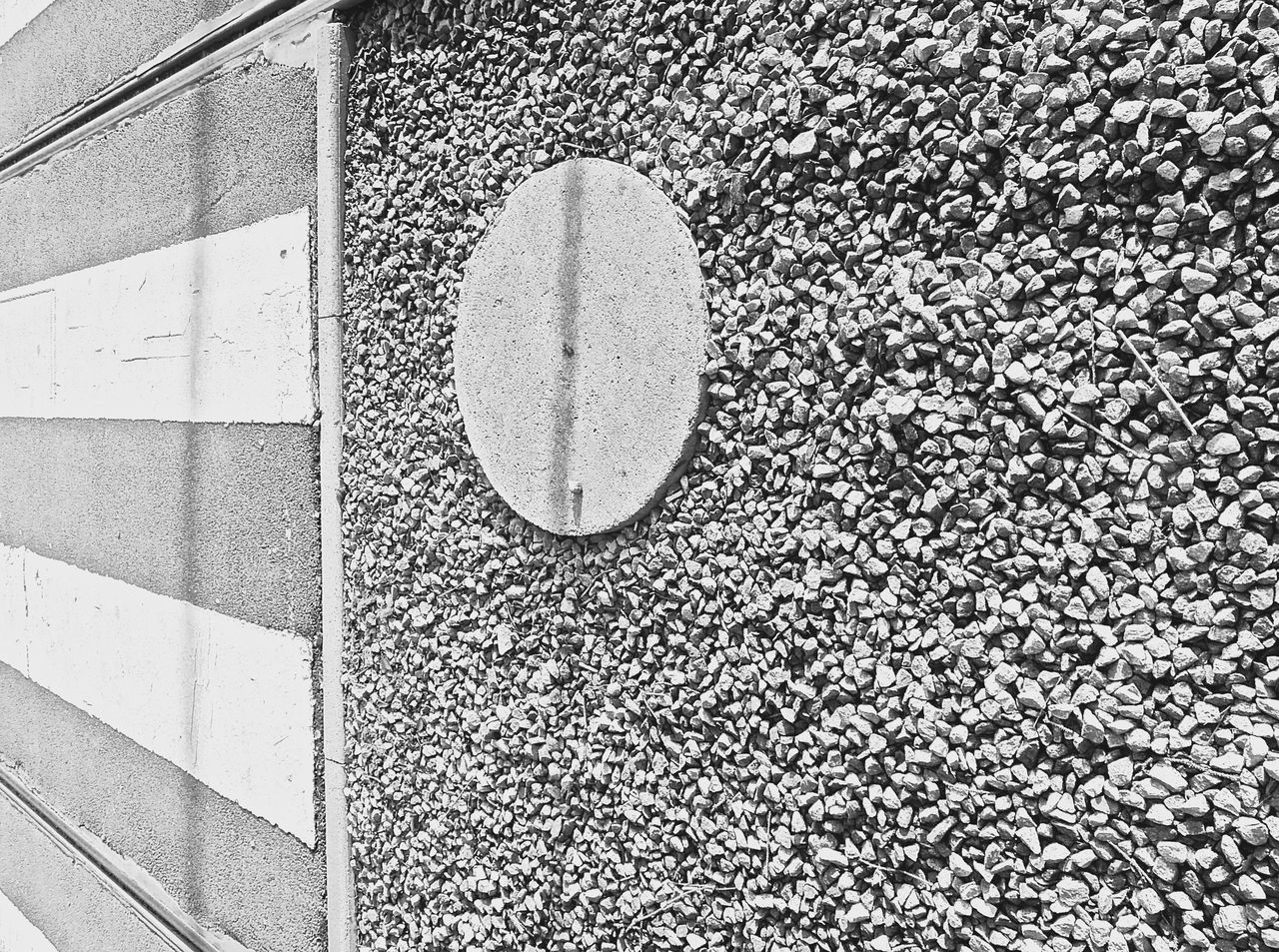Angles And Lines Architecture Black And White Close-up Day Nature No People Outdoors Pebble Perspective Railtrack Shapes And Lines Side View Textured  Zebra Crossing