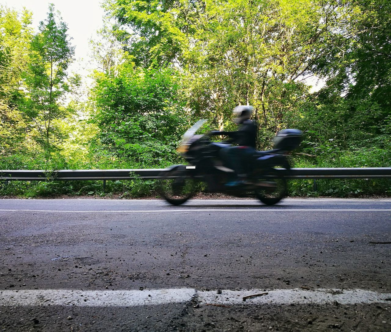 transportation, road, riding, real people, mode of transport, motorcycle, tree, land vehicle, day, blurred motion, one person, full length, men, motion, outdoors, lifestyles, sitting, nature, people