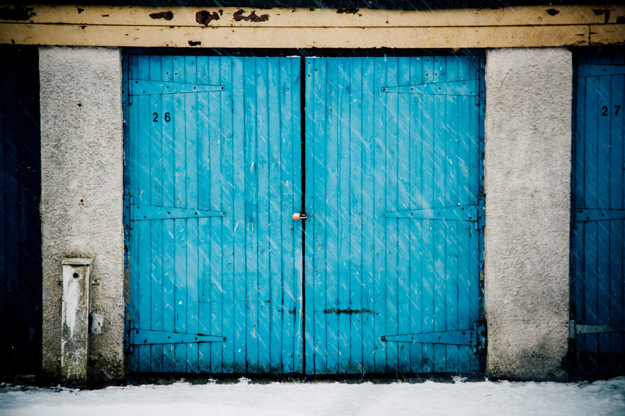 Blue Cold Garage Garage Door Garage Doors Scotland Snow Snow Fall Suburban White Winter Winter Time Pastel Power Here Belongs To Me Blue Wave