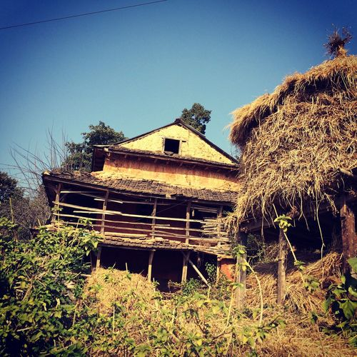 Home where my dad and his dad gathered loads of childhood memories. Village Life Nepal Nepalearthquake2015 Grass Nature Day Old-fashioned Home Traditional House Haystack