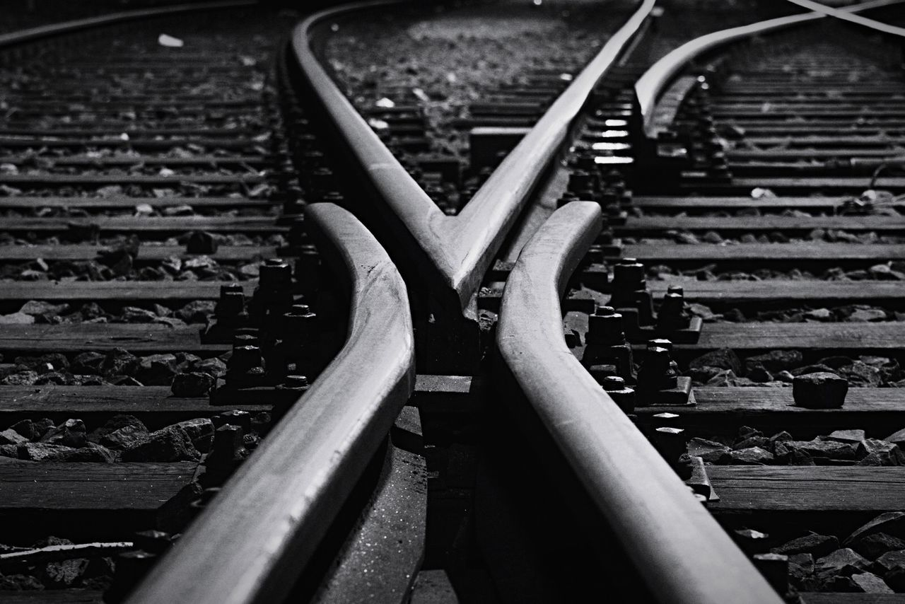 Throw A Curve standing at the Crossroads Black & White From My Point Of View Change Your Perspective EyeEm Deutschland Nightphotography Railway Railroad Track Railway Track Fine Art Photography