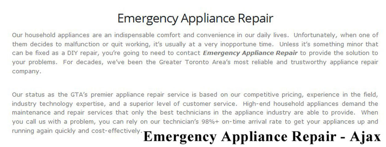 Emergency Appliance Repair 95 Bayly St W #200 Ajax, ON L1S 7K8 (289) 624-1527 Ajax Appliance Repair Ajax ON Appliance Repair Appliance Repair Ajax Appliance Repair Ajax ON Best Appliance Repair Ajax